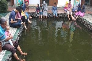 Relaksasi Terapi Ikan di Halaman Masjid Iqro Garut