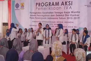 Ibu Negara Iriana Jokowi Kampanye IVA di Cirebon
