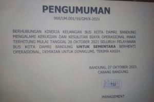 8 Rute DAMRI Bandung Berhenti Beroperasi Mulai Hari Ini